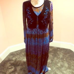 Vintage velvet bohemian maxi dress